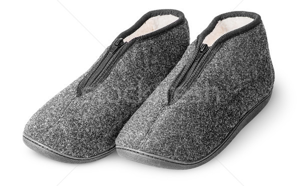 One pair comfortable dark gray slippers with fur Stock photo © Cipariss