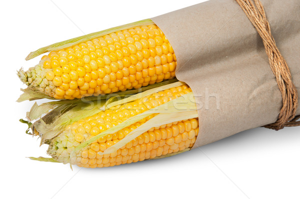 Stock photo: Several corn cob in paper bag tied with rope