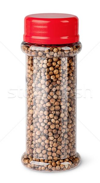 Kişniş tohumları kavanoz yalıtılmış beyaz cam Stok fotoğraf © Cipariss