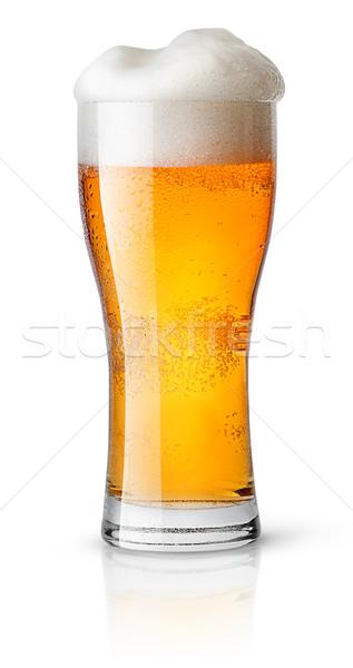 Világos sör izzadt üveg izolált fehér buli Stock fotó © Cipariss