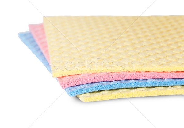 Closeup multicolored sponges for dishwashing rotated Stock photo © Cipariss