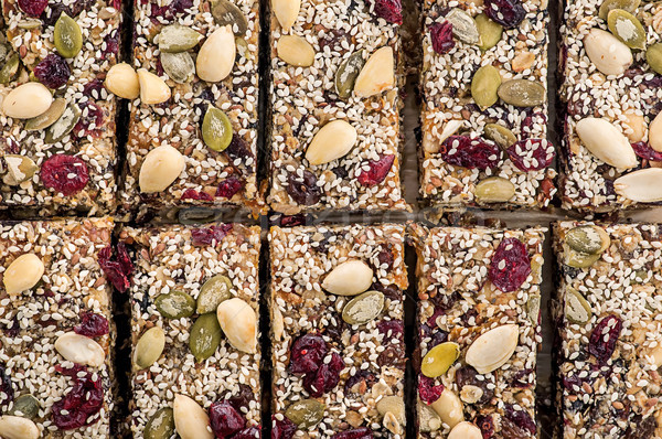 Granola vág darabok felülnézet étel gyümölcs Stock fotó © Cipariss