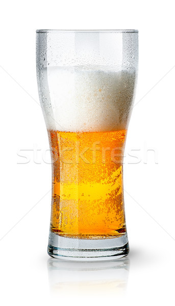Half glass of light beer with foam Stock photo © Cipariss