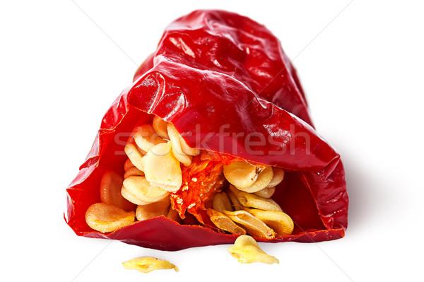 Közelkép darab piros forró chilipaprika magok Stock fotó © Cipariss