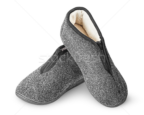 Dark gray slippers with fur one on another Stock photo © Cipariss
