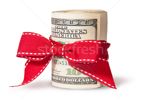 Vertical Roll Of One Hundred Dollar Bills Tied With Red Ribbon Stock photo © Cipariss