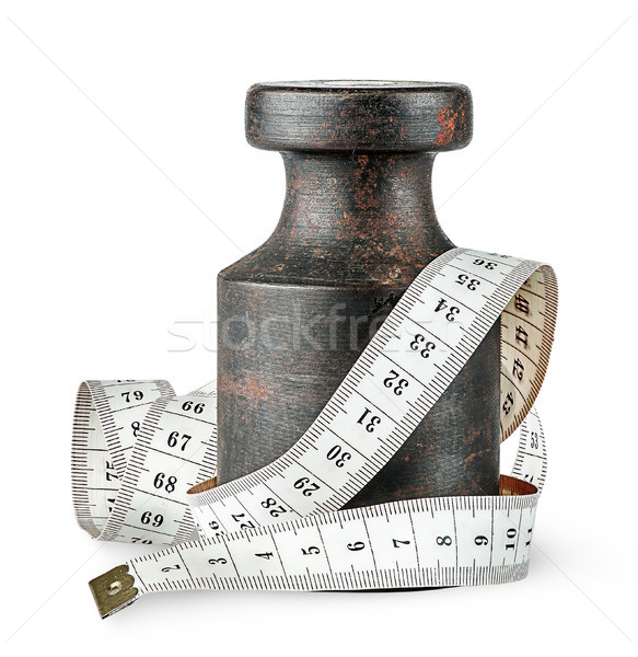 Old rusty weight wrapped centimeter Stock photo © Cipariss