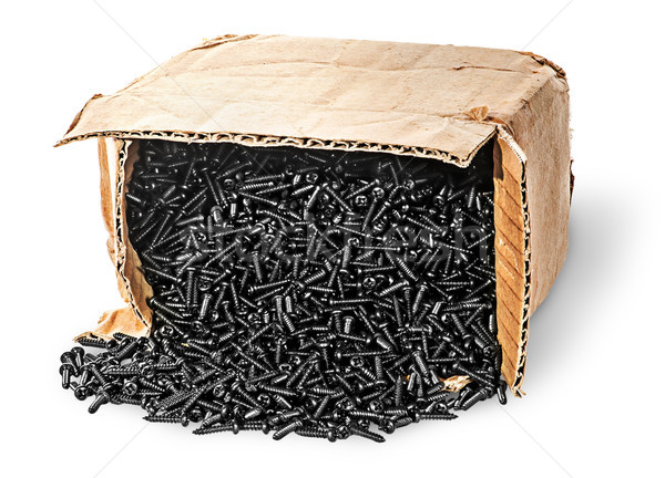Screws fall out of old cardboard box Stock photo © Cipariss
