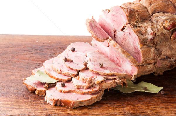 Aprított főtt disznóhús fa deszka fűszer izolált Stock fotó © Cipariss