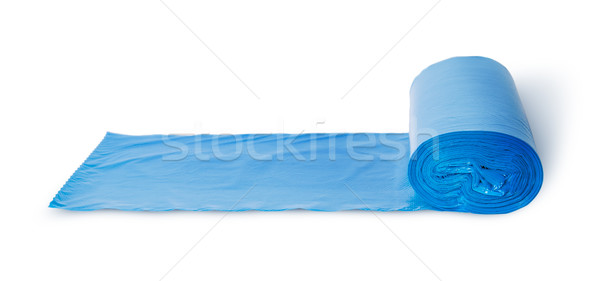 Roll of blue plastic garbage bags in front view Stock photo © Cipariss