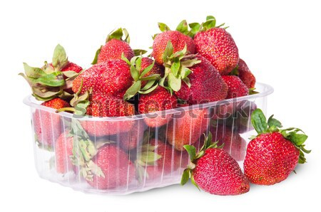 Freshly strawberries in a plastic tray Stock photo © Cipariss