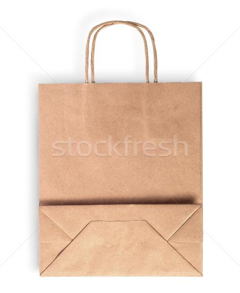 összehajtva barna papír táska étel izolált fehér Stock fotó © Cipariss