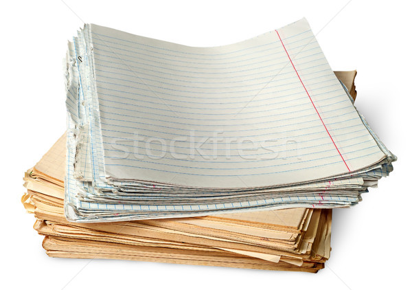 Stack of old yellowed sheets of school notebooks Stock photo © Cipariss