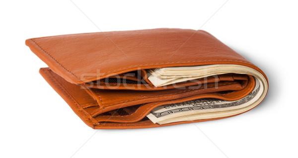 Bőr pénztárca tele dollár izolált fehér Stock fotó © Cipariss