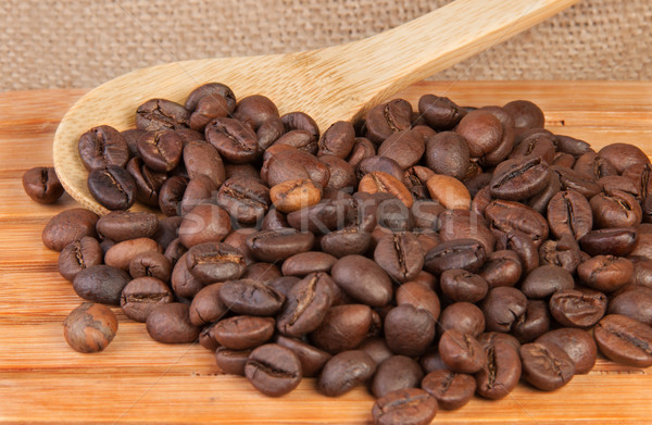 Coffee beans on a wooden lattice Stock photo © Cipariss
