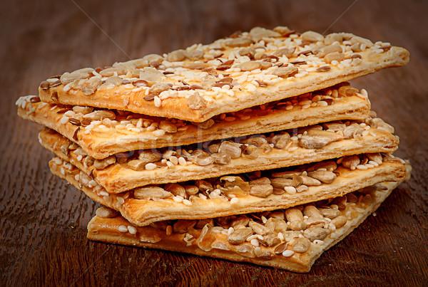 Stok fotoğraf: Tahıl · kurabiye · tohumları · ahşap · masa · gıda