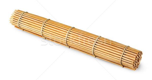 Tekert bambusz szusi izolált fehér fa Stock fotó © Cipariss