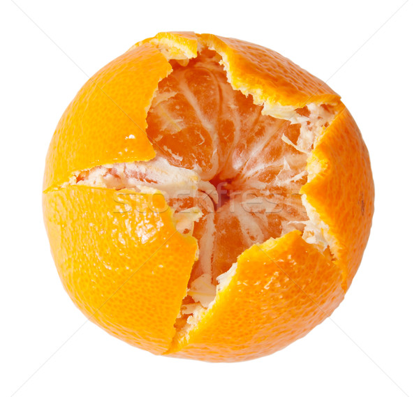 Geschält saftig Mandarine isoliert weiß Obst Stock foto © Cipariss