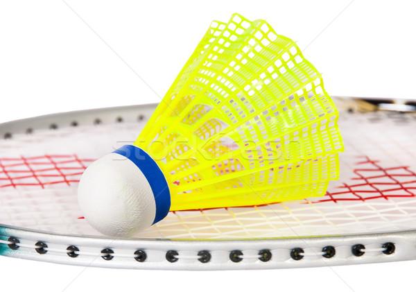 Shuttlecock lying on the badminton racket Stock photo © Cipariss