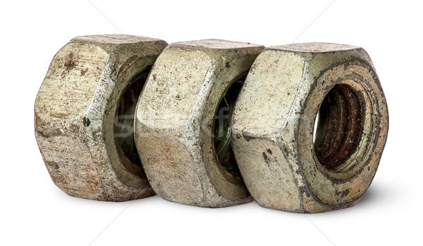 Három öreg rozsdás diók csetepaté izolált Stock fotó © Cipariss