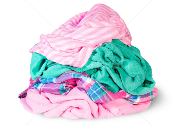 Stock fotó: Halom · ruházat · izolált · fehér · divat · zöld