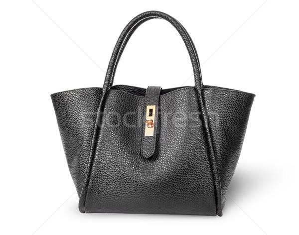 черный элегантный кожа дамы сумочка изолированный Сток-фото © Cipariss