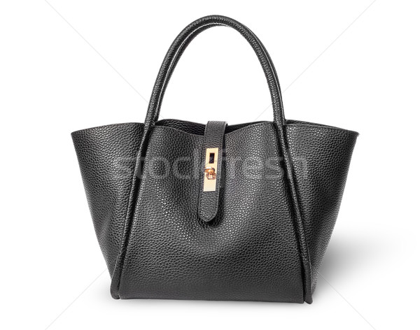 Noir élégante cuir dames sac à main isolé Photo stock © Cipariss