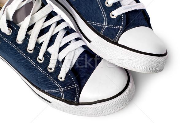 Közelkép sötét kék sportos cipők izolált Stock fotó © Cipariss