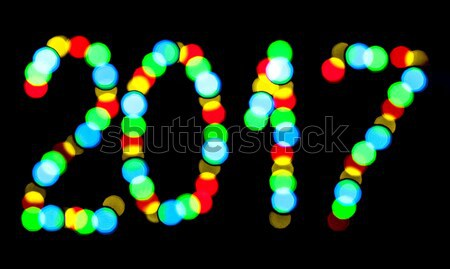 Happy New Year 2017 written blurred lights Stock photo © Cipariss