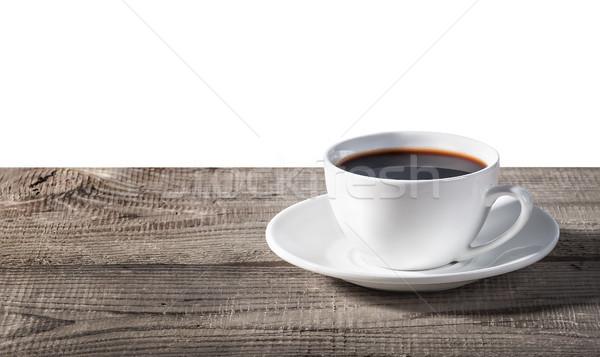 Fincan kahve ahşap masa yalıtılmış beyaz doku Stok fotoğraf © Cipariss