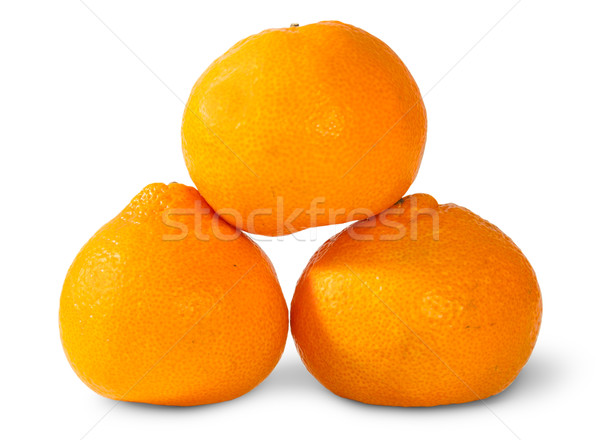 Pyramid Of Three Ripe Tangerines Stock photo © Cipariss