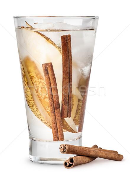 Limonádé körte fahéj izzadt üveg izolált Stock fotó © Cipariss