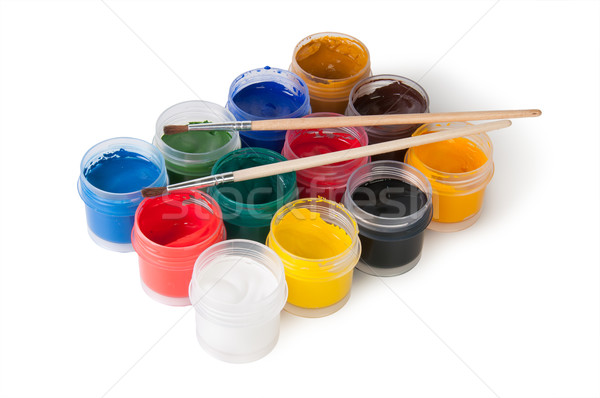Jars With Gouache And Paint Brushes Stock photo © Cipariss