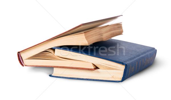 Kettő öreg könyvek izolált fehér iskola Stock fotó © Cipariss