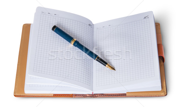 Fountain pen on top of the open notebook Stock photo © Cipariss