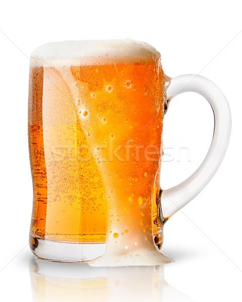 Világos sör hab bögre izolált fehér buli Stock fotó © Cipariss
