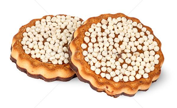 Kettő csokoládé sütik izolált fehér desszert Stock fotó © Cipariss
