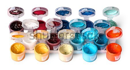 Few colored acrylic paints in open jars Stock photo © Cipariss
