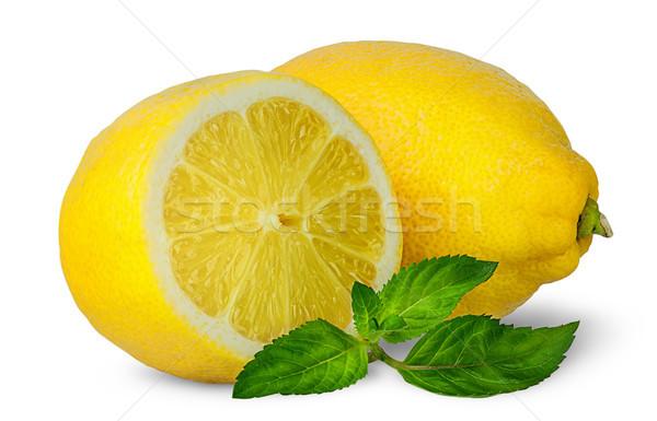 Yarım bütün limon nane yalıtılmış beyaz Stok fotoğraf © Cipariss
