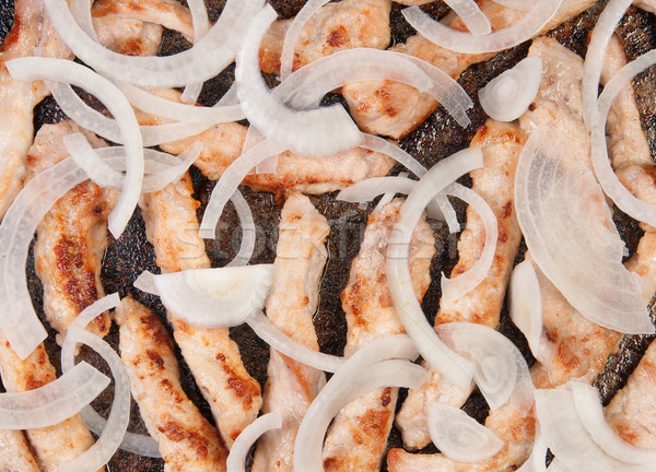 Meat Strips Fried With Onion In A Pan Stock photo © Cipariss