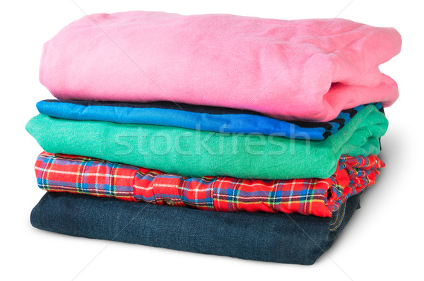 Stack Of Five Types Of Clothes Rotated Stock photo © Cipariss
