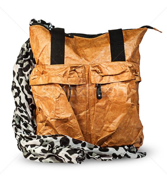 Elegancki damska torby papierowe szalik odizolowany biały Zdjęcia stock © Cipariss