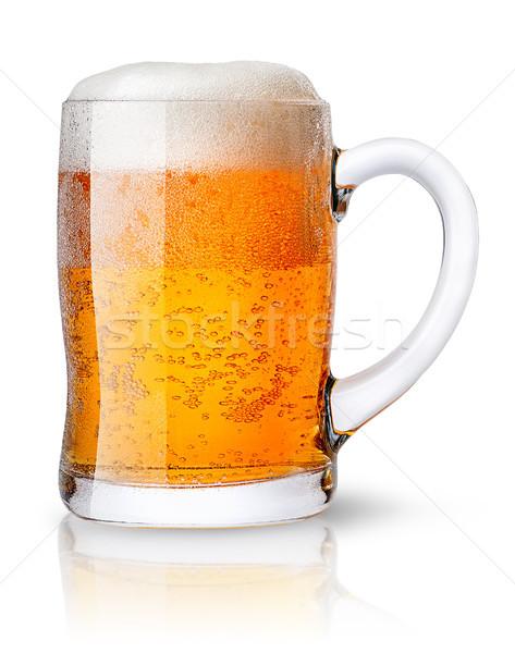 Bögre világos sör izolált fehér buli sör Stock fotó © Cipariss