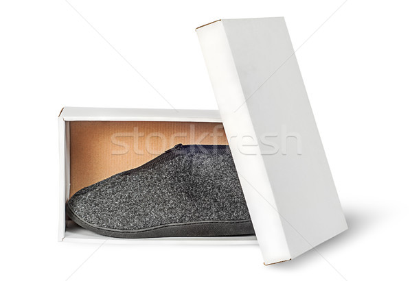 Single slipper in white cardboard box with lid Stock photo © Cipariss