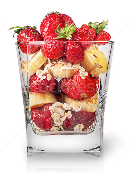Strawberry and banana in glass Stock photo © Cipariss