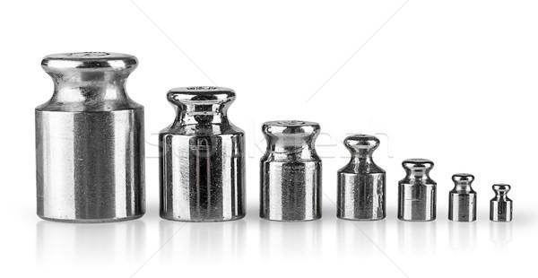 öreg elnyűtt mér súlyok csetepaté izolált Stock fotó © Cipariss