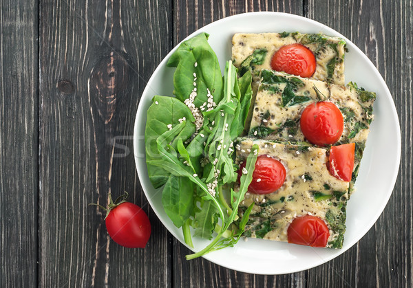 Frittata with spinach and tomatoes Stock photo © Cipariss