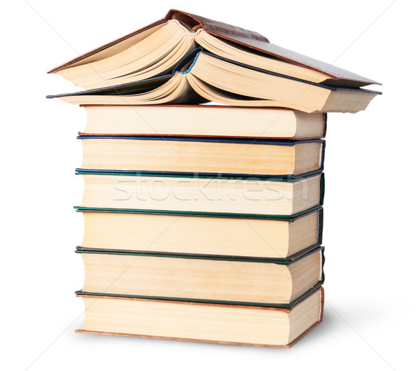 Stack of six old books with two open top rotated Stock photo © Cipariss