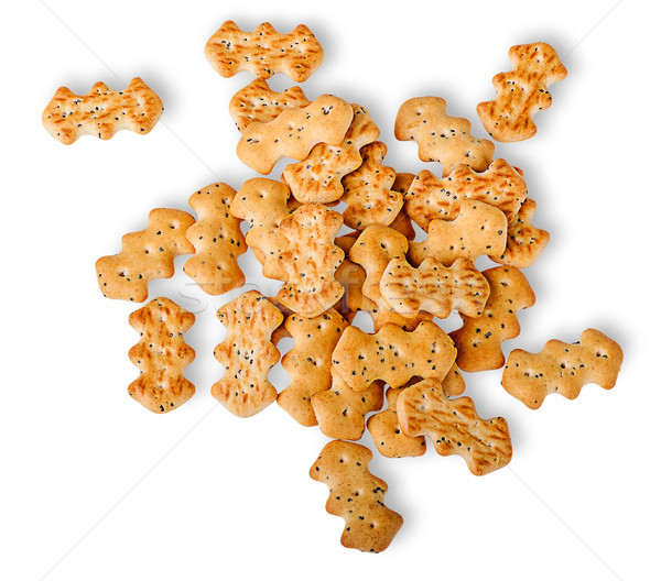 Heap of crackers with poppy seeds top view Stock photo © Cipariss