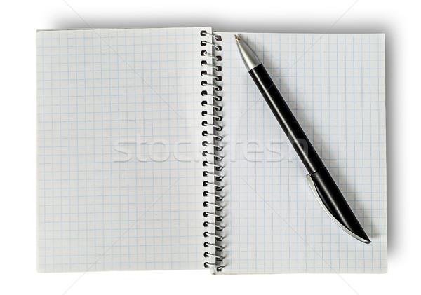 ストックフォト: オープン · 帳 · 孤立した · 白 · ペン · 教育